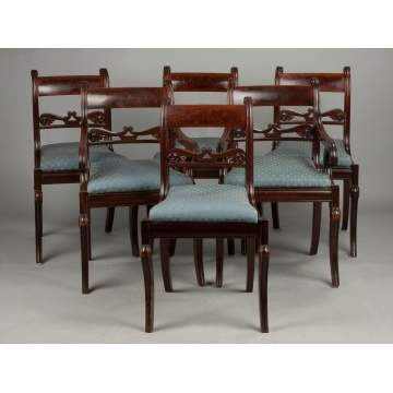 Set of Six Carved & Figured Mahogany Classical Dining Room Chairs