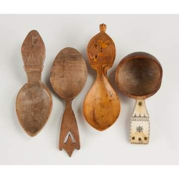 Four Carved Ladles