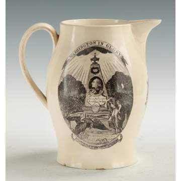 "Liverpool Creamware Pitcher ""Washington in Glory"" & ""Peace, Plenty and Independence"""