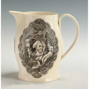 "Liverpool Creamware Pitcher ""Success to America"" with George Washington"