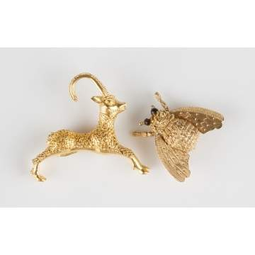 Gazelle Brooch & 18K Gold Bee Brooch