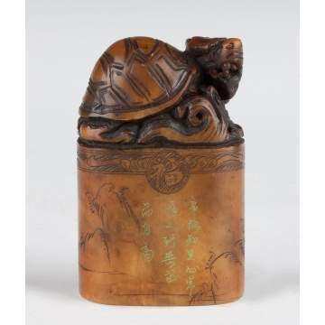 Chinese Carved Soapstone Seal with Turtle