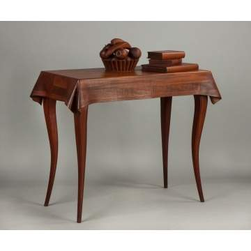 Wendell Castle (American, Born 1932) Fine & Rare Stack Laminated Walnut Trompe l'oeil Table