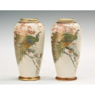 Japanese Satsuma Vases with Peacocks