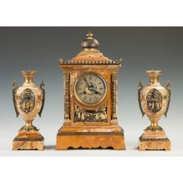 Achille Brocot, French, Mixed Metal & Marble 3-Piece Clock Set with Asian Motifs
