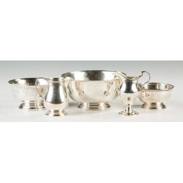 Group of Sterling Silver Bowls & Creamers