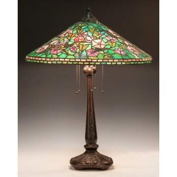 Leaded Glass Lamp Attr. to Handel, Morning Glories