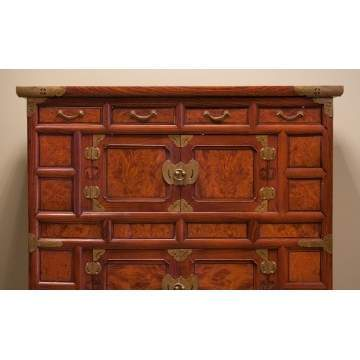 Two Asian Burl & Hardwood Cabinets