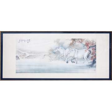 Ou Haonian (Chinese, born 1935) Monumental Watercolor of Horses in Landscape