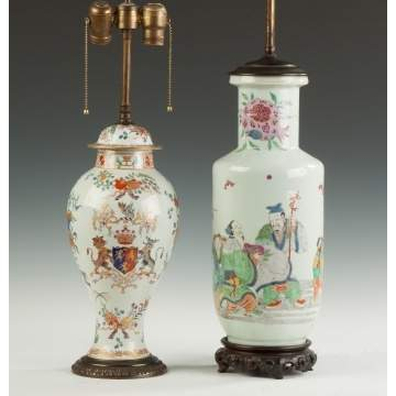 Two Asian Painted Porcelain Lamp Bases