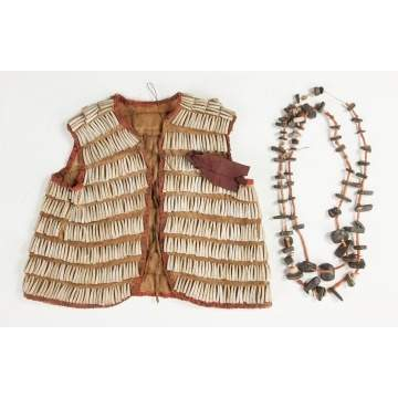Native American Child's Vest & Two Necklaces