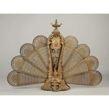 French Brass Peacock Folding Fire Screen
