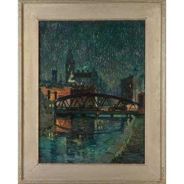 "Clifford Ulp (American, 1885-1958) ""Plymouth Ave. Bridge, Old Erie Canal"""