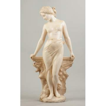 Carved Alabaster of a Woman by Griffin Table