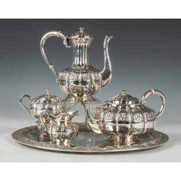 Four Piece Sansborn Mexican Sterling Silver Tea Set with Matching Tray