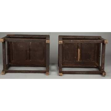 Pair of Chinese Carved Mortise & Tenon Arm Chairs
