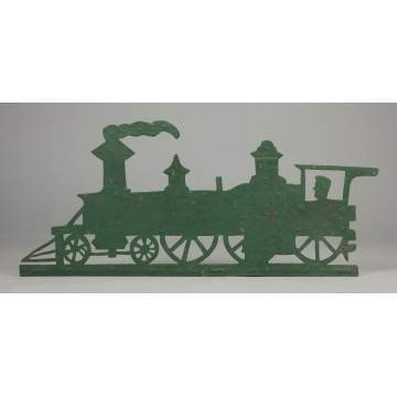 Painted Sheet Iron Locomotive Weathervane with Conductor