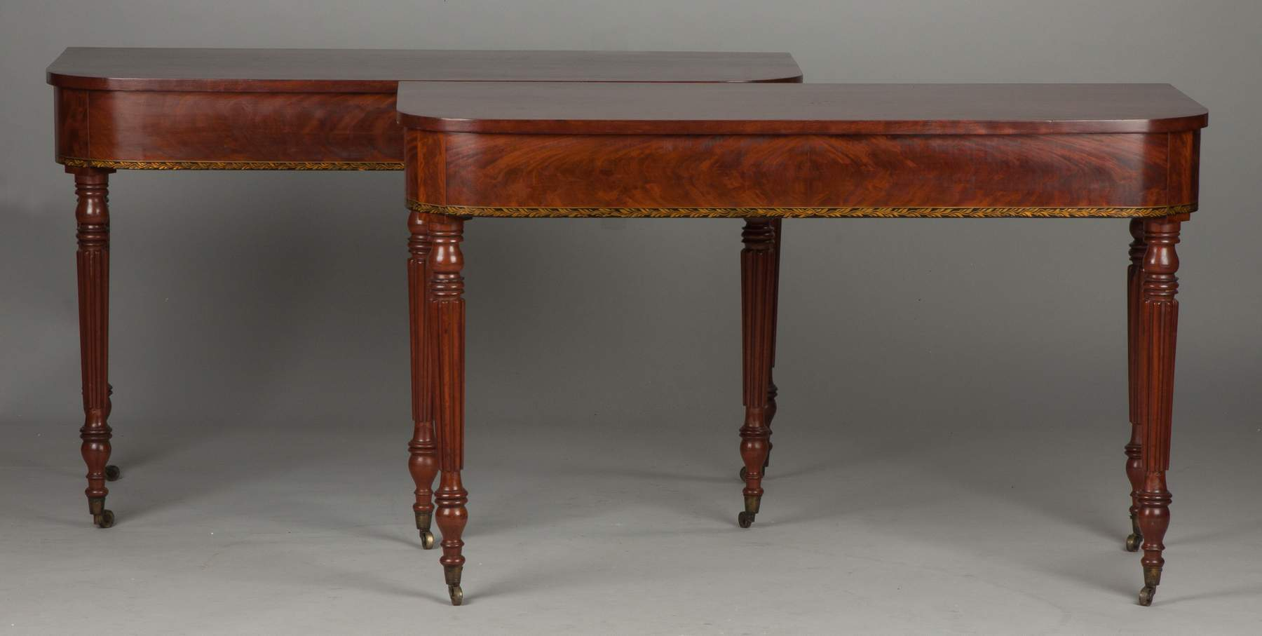 Fine mahogany dining tables - Fine Sheraton 3 Piece Figured Mahogany Dining Table Attr To Michael Allison New York 1773 1855