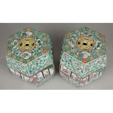 Pair of Chinese Famille Rose Hexagonal Garden Seats