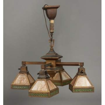 Arts & Crafts Brass & Stained Glass 4-Light Hanging Fixture, Probably Bradley & Hubbard