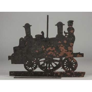 Sheet Metal Locomotive Weathervane with Conductor