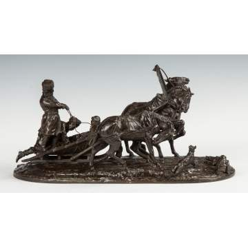 Evgeni Lanceray (Russian, 1875-1946) Group of a Troika, Bronze Sculpture
