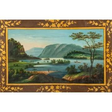 Rare Toleware Tray with Hudson River School Style Painting of Paddlewheel Boat
