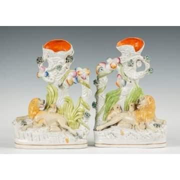 Pair of Staffordshire Spill Vases