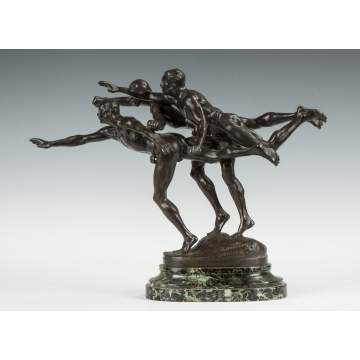 "Alfred Boucher (French, 1850-1934) ""Au But"" Bronze Figural Group"
