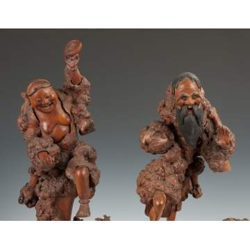 Pair of Asian Carved Burl & Root Figures