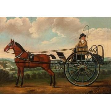Painting of a Horse Drawn Cart & Rider