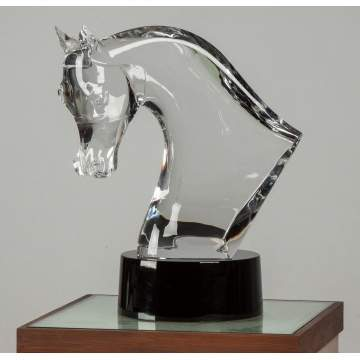 Lalique, France, Clear Crystal Horse's Head Sculpture
