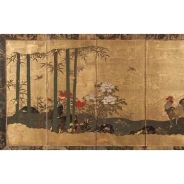 Japanese Painted & Gold Leafed Table Screen