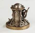 Plated Brass Mechanical Inkwell with Various Tools