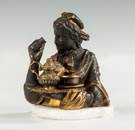 Gilt & Patinated Bronze Inkwell of a Lady Serving Tea
