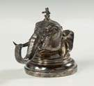Silver Plate Inkwell, Elephant with Monkey