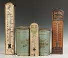 Three Vintage Advertising Thermometers & Two Painted Tins