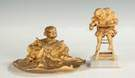 Patinaed Brass Inkwell & Child in Highchair Sculpture