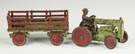 Painted Cast Iron Tractor & Cart