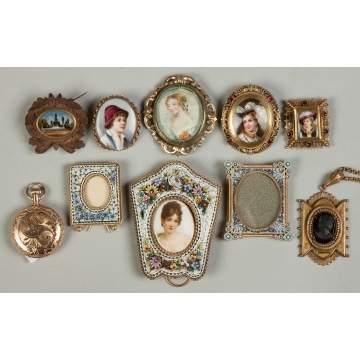 Various Miniature Frames, Brooches, etc. | Cottone Auctions