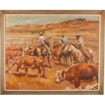 Pal Fried (Hungarian/American, 1893-1976) Cattle Roundup