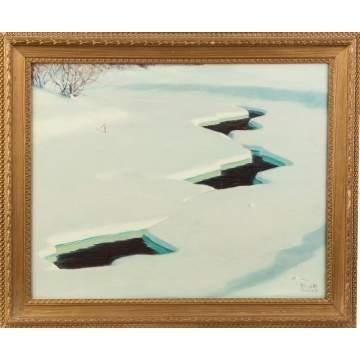 "Three Alling Clements Paintings (American, 1891-1957) ""Frozen River"", Turtles on Log & ""Autumn Gold"""