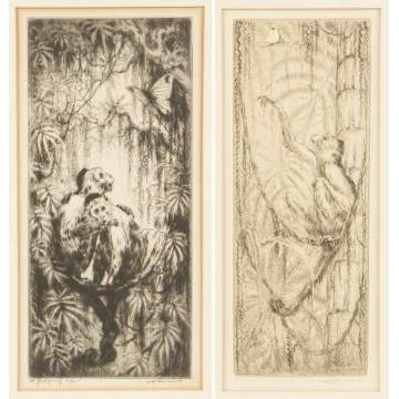 Will Simmons (American, 1884-1949) Two Engravings of Monkeys & Butterflies