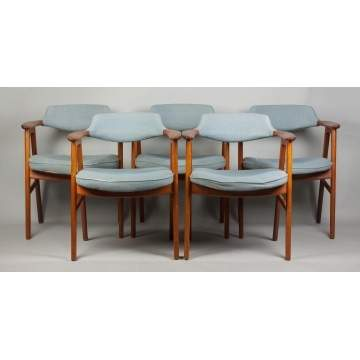 Set of Five Kirkegaard Dining Chairs for Illums Bolighus, Kobenhavn