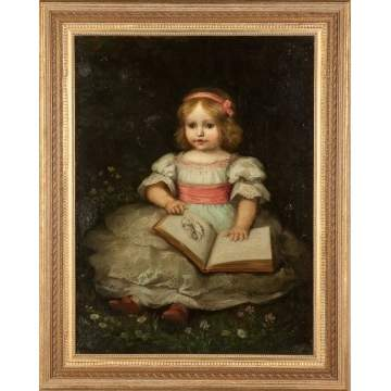 Portrait of a Young girl with dress & pink ribbon reading a book