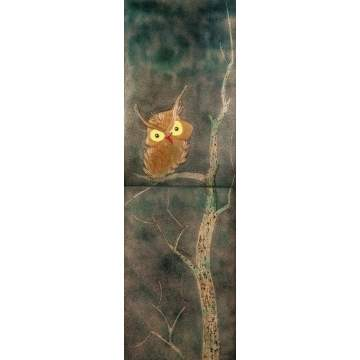 Enamel on Copper Panels of Owl in Tree