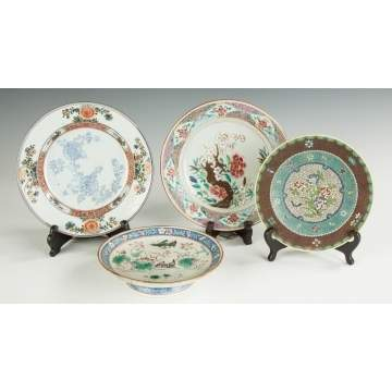 Two Chinese Plates, One Compote and Japanese Plate