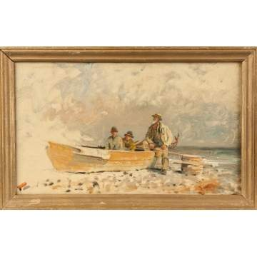 Painting of Fishermen on the Shore