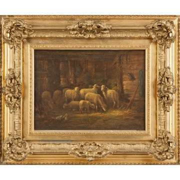 Painting of Sheep in a barn
