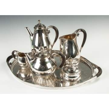 Fine Georg Jensen Sterling Silver 6-Piece Tea Set - Cosmos Pattern